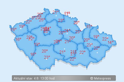 Aktuálně - teploty - Mapa teplot