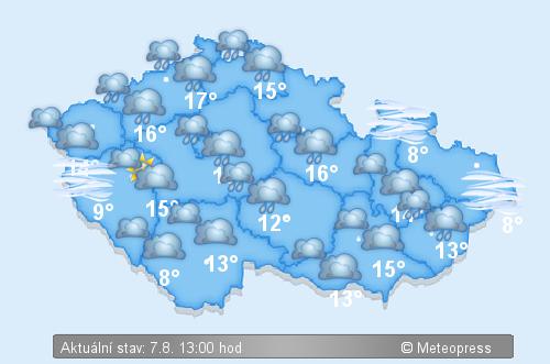 Aktuální stav počasí v ČR