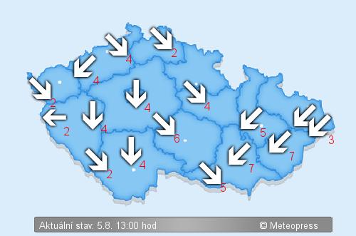 Aktuální větrnost na území České republiky