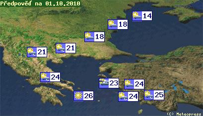 Mapa teplot na Balkáně