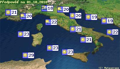 Mapa teplot v Itálii