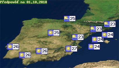 Mapa teplot ve Španělsku